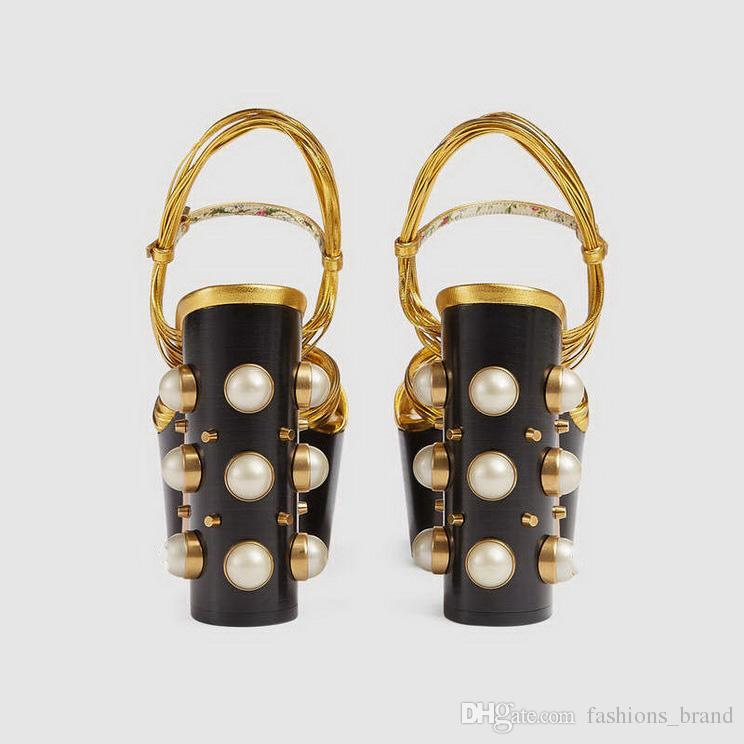 Sommer Sandaletten Frauen Thick High Heel Sandale mit Perlen Schuhe Platfrom Sandalen für Damen Party Hochzeit Sexy Pumps Größe 4-8 Schwarz Rot