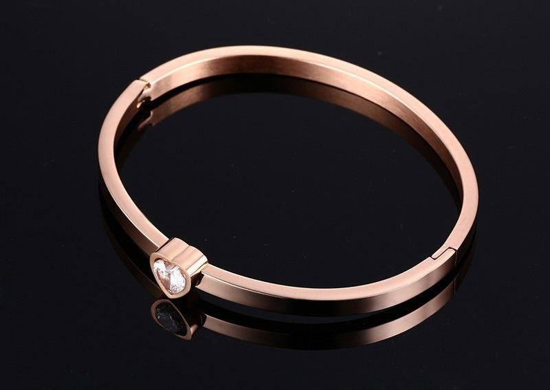 Banhado a ouro Designer Aço Inoxidável Bangle Cristal Cuff Buckle Abertura Amor Bracelet para as Mulheres Jóias Pulseiras