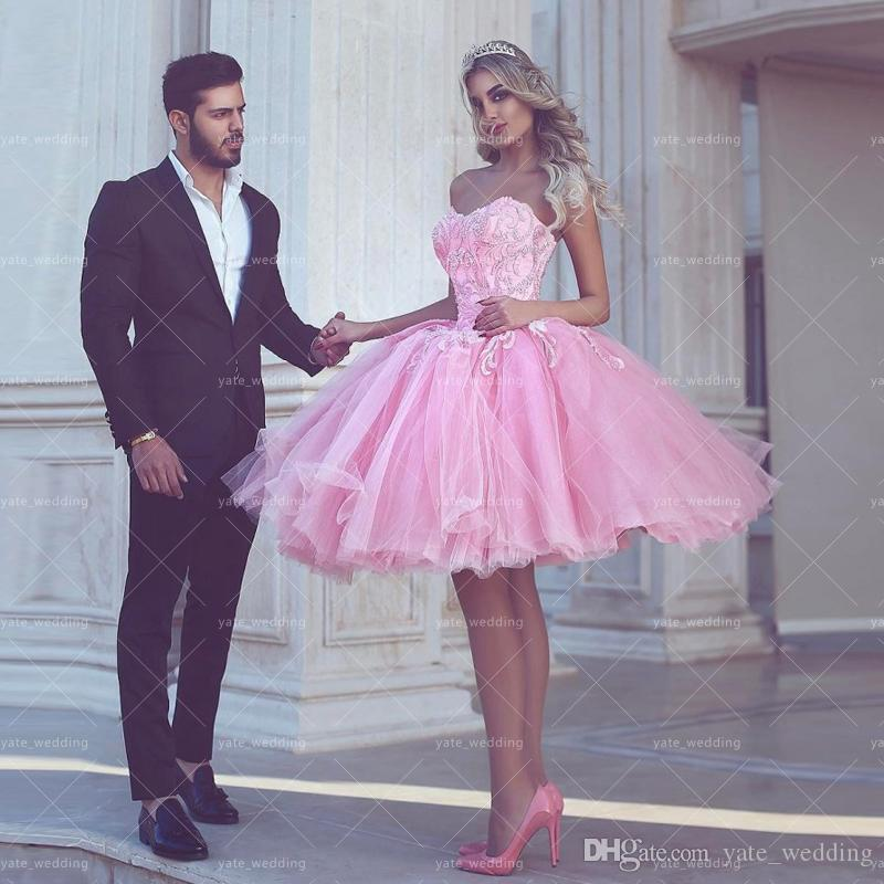 Cute Pink Ball Gown Prom Dresses Sweetheart Appliques Tulle Knee ...