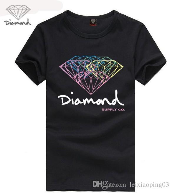 Diamante T-shirt Hip Hop Moda Camisetas Homens Mulheres Diamante Fornecimento Co Camisetas Plus Size S-3XL Manga Curta Hip Hop