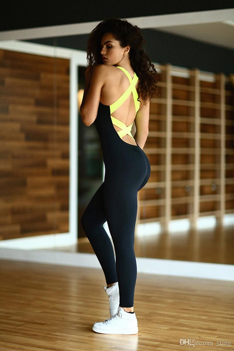 Newest Women sexy Tight jumpsuits Nice Leggings High Elastic Thin Sports bodysuits Fitness Running and other sports sleeveless