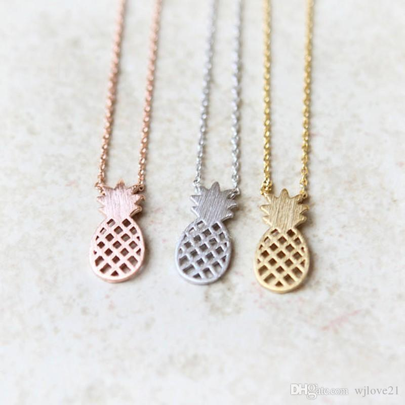 Fashion silver plating necklace ananas necklaces for women wholesale and mixed color choker necklace