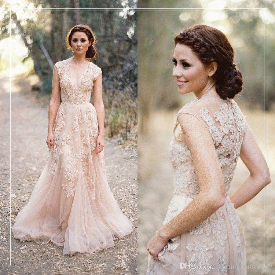 Champagne Lace Wedding Gown: Discount Champagne Lace Country Wedding Dresses 2017 V