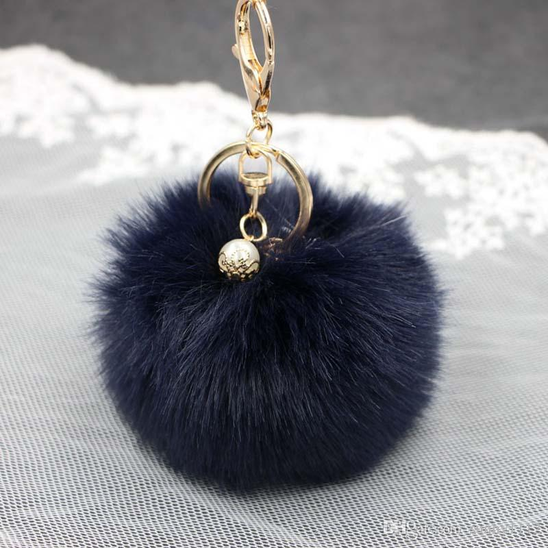 8cm Puff Ball Keychains Solid Color Imitate Rabbit Fur Ball Keychain  Handbag Key Ring Car Key Custom Keychain Leather Lanyard From Sunny1112 204d3308c