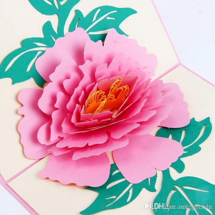 Popular 3d Peony Flower Greeting Card Mother