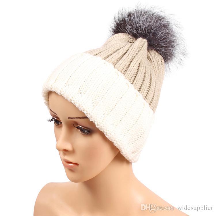 Winter Fashion Beanie Classic Tight Knitted Grey Fox Fur Pom Poms Hat Women Cap Winter Beanie Headgear Headdress Head Warmer Top Quality