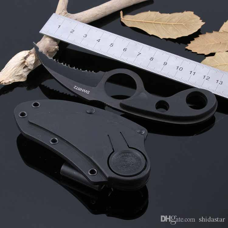 SWHRT2 Bear Claw Karambit Fixed Blade Knife Serrated Notched Blade ABS Handle Tactical Hunting Survival Pocket Utility EDC Tool Collection