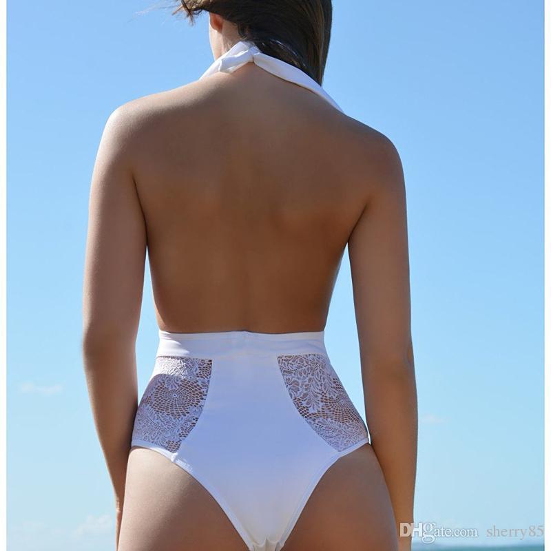 Maillot de bain une pièce sexy en dentelle XXL Maillot de bain femme Maillot de bain une pièce monokini coupe haute blanc / noir Maillot de bain 1 pièce Trikinis 2203
