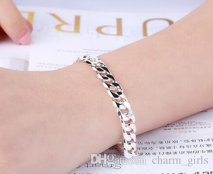 2017 Best-seller placage argent 925 hommes Sideways bracelet bijoux en argent 20CM * 8MM / Livraison gratuite