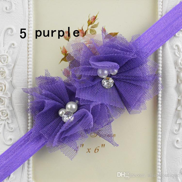 Double Chiffon Lace Flowers elastic Headband with pearl rhinestone For Baby Photography Props Infant Headbands FD78