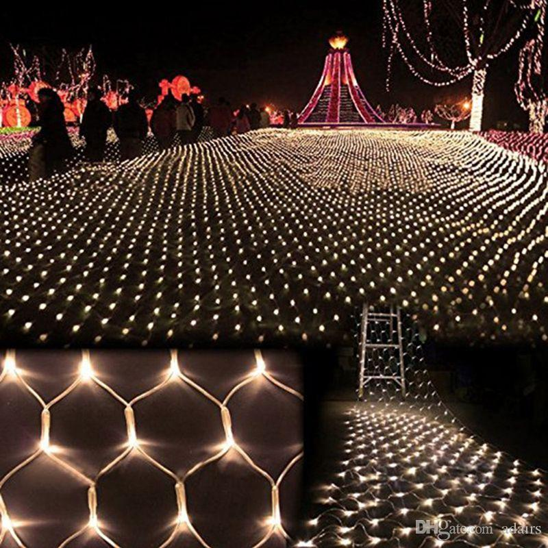 hot 15m15m 100 led waterproof colorful net mesh string light christmasweddingparty decoration lights holiday led lighting battery powered led string