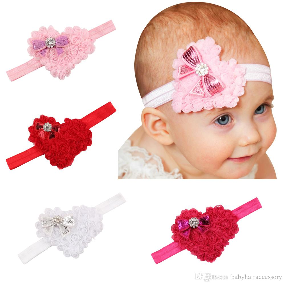 Cute Newborn Valentine\'s Day Heart-Shaped Headband Lovely Kids ...