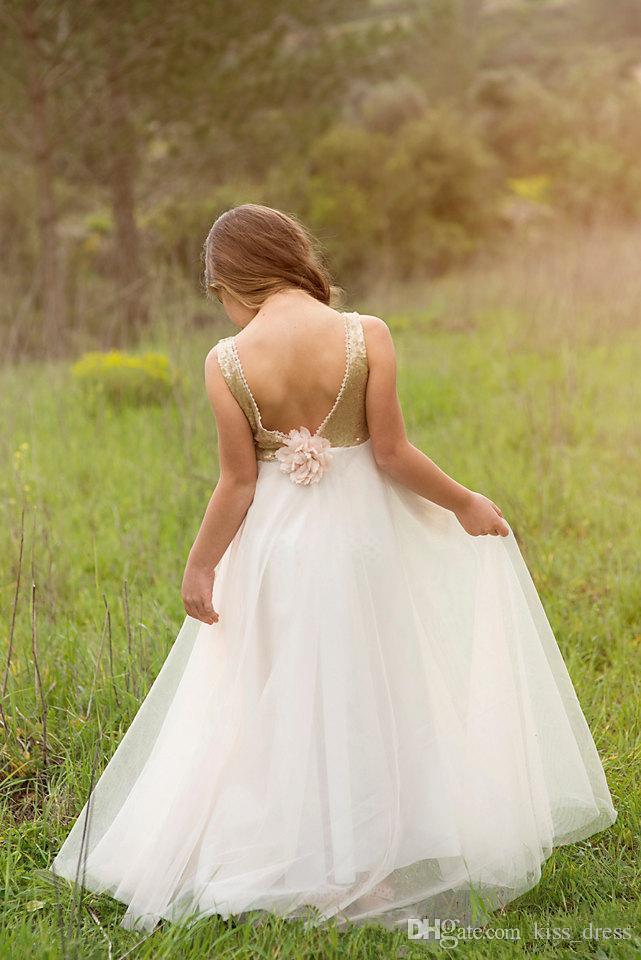 بلينغ بلينغ الذهب طويل زهرة فتاة فساتين 2019 موضة جديدة السباغيتي حزام الأورجانزا الطابق طول خط جميل الزفاف مهرجان أثواب f51