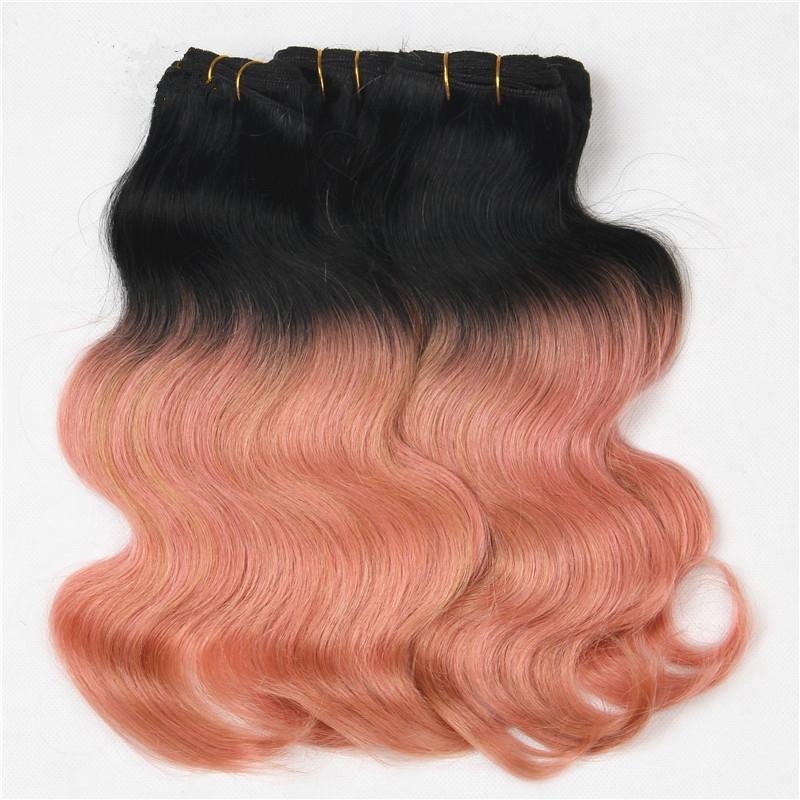 금발 1B 로즈 골드 인간의 머리카락은 정면의 몸 웨이브와 번들을 엮어 낸다.