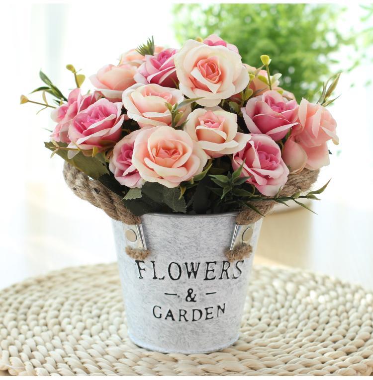 Compre Coolkee Elegante Artificial Vintage Rose Flores Com Ferro