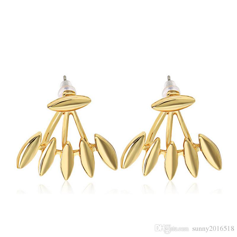 Rock Punk Spike Smooth Marquise Shape Ear Stud Earrings For Women Party Jewelry Gold Silver Plated Metal Ear Jacket