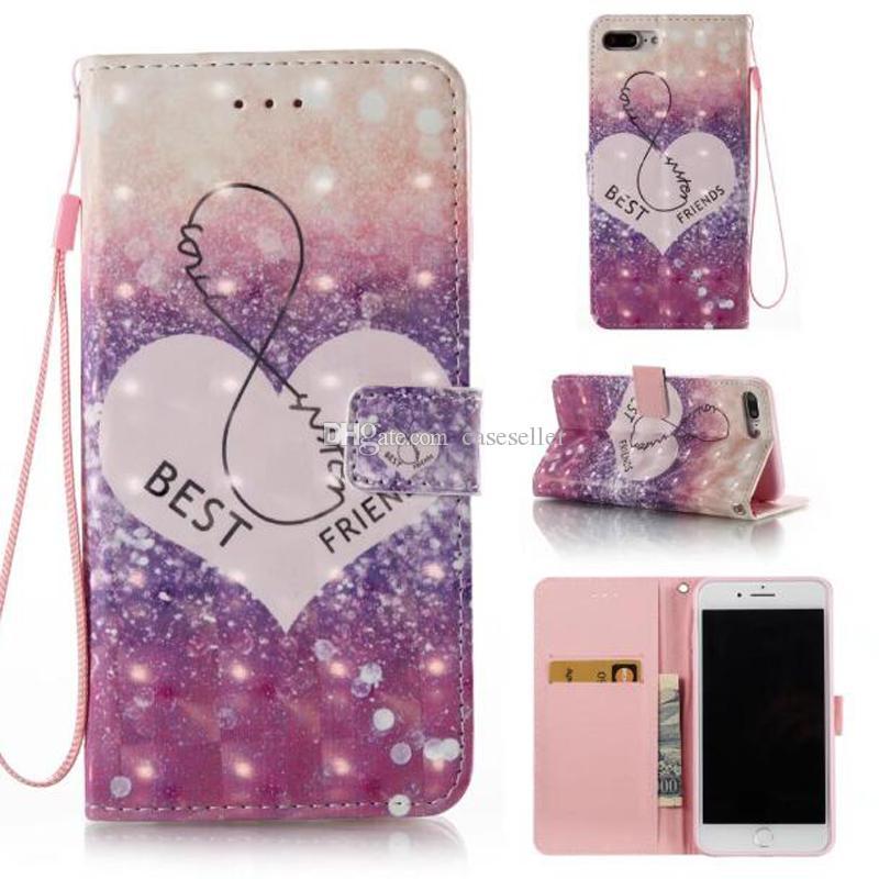 Funda de cuero 3D PU Fashion Friend Dream catcher para iphone 7 plus 6 6S 5S SE Galaxy S8 PLUS S7 edge