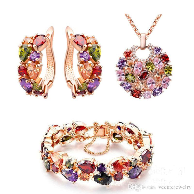 Luxury Noble 18K Real Gold Plated Colorful Swarovski Crystal Necklace Earrings Bracelet Jewelry Sets for Women Ladies Zircon Acessories