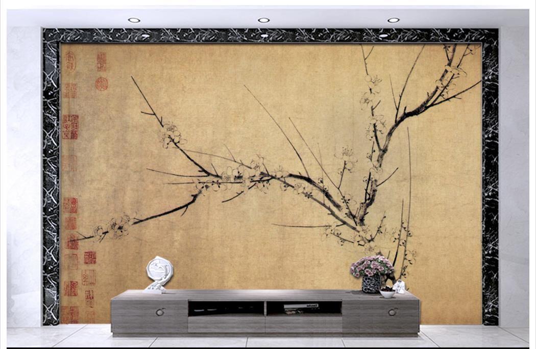 Hohe Qualität Benutzerdefinierte 3d decke tapetenwandbilder tapeten Chinesische klassische blume und vogel retro backg decke wandbilder wohnzimmer dekor