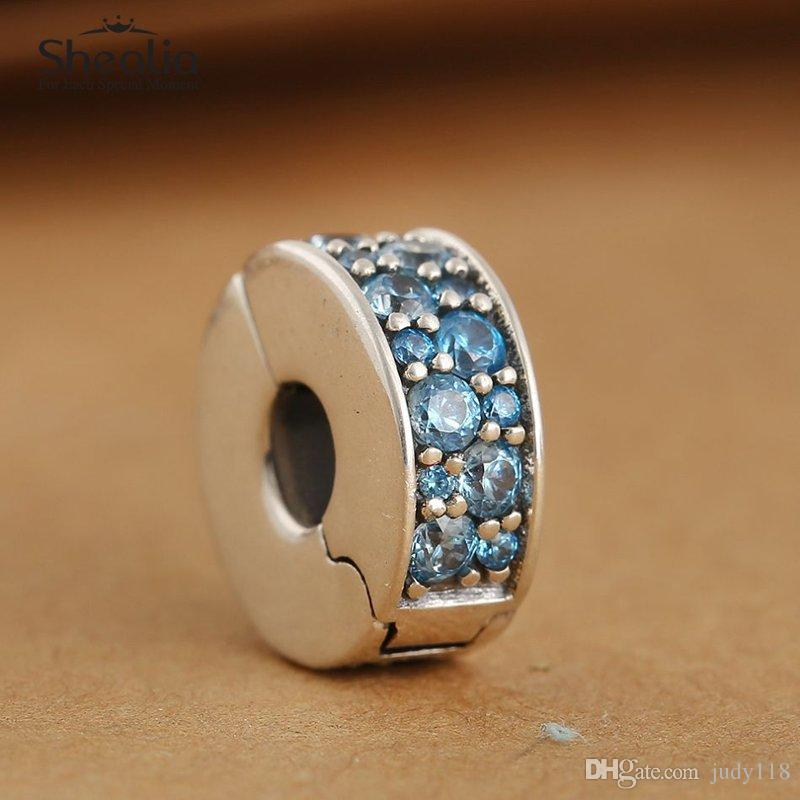Memnon Jewery 2016 Summer Shining Elegance Stopper Clip Beads Teal Blue CZ Pave 925-sterling-silver Lock Clip charms Fit Bracelet DIY KT062