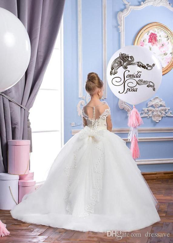 2019 Dentelle Puffy Tulle Robe De Bal Fleur Fille Robes Appliques Filles Pageant Robes Vintage Robe De Communion Grand Arc Retour Custom Made