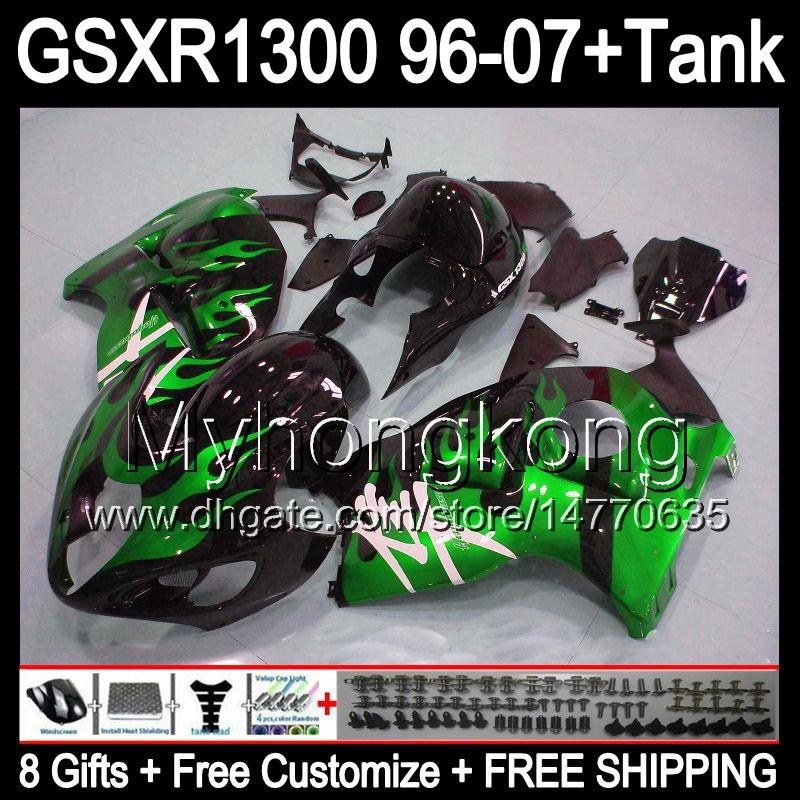 8gift For SUZUKI Hayabusa GSXR1300 96 97 98 99 00 01 green flames 13MY36 GSXR 1300 GSX-R1300 GSX R1300 02 03 04 05 06 07 Fairing gloss black