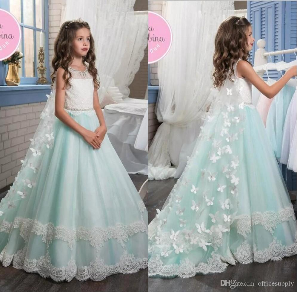 2017 Pageant Flower Girl Dresses For Wedding Vintage Lace With 3d ...