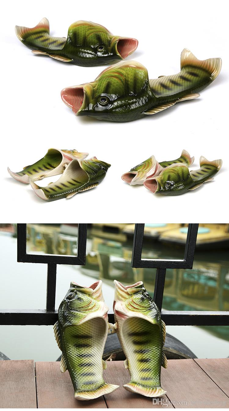Non-slip beach shoes couple lovers slippers fashionable dermatous fish-shaped beach sandals painted casual picnic fish slippers