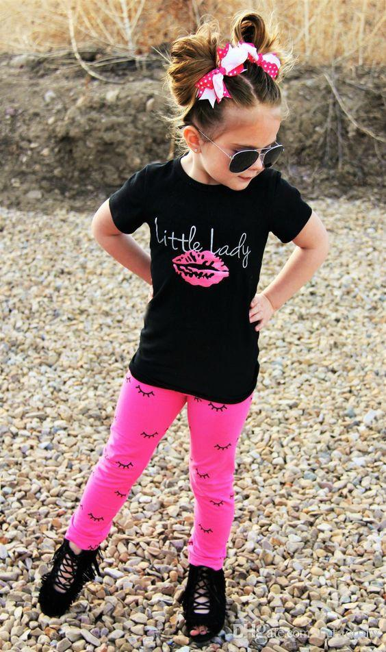 2017 Verano Niño 2 Unids Infant Kid Baby Girls Outfits Negro T-shirt Tops + Pink Leggings Pantalones Ropa