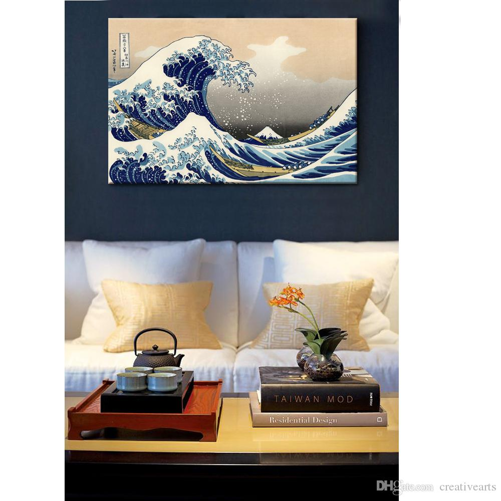 Japanese Yamato-e Painting Canvas Prints Wave of Kanagawa Decorative Canvas Printed Artwork