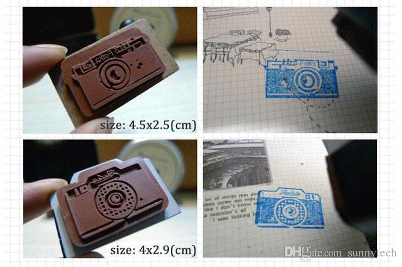 Vintage en bois caméra timbre bricolage autocollant pour scrapbooking timbre Zakka papeterie enfants fille cadeau d'anniversaire enfants Party Favors ZA2244