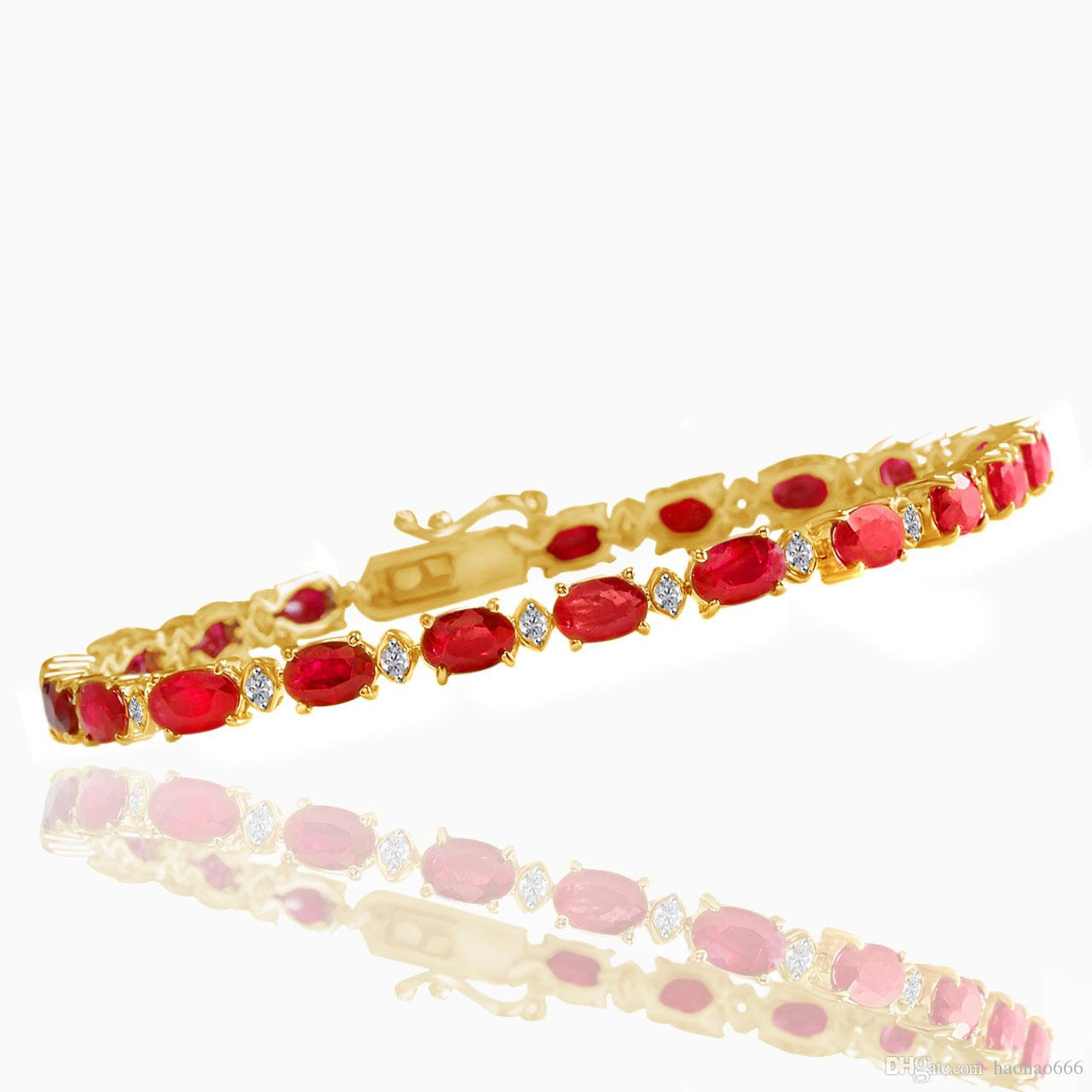 bracelet gold image wedding ruby plated is tennis red gift zirconia cubic s loading itm white
