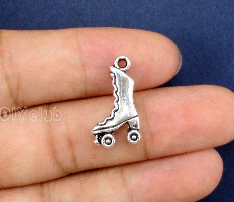 -Antique Bronze Silver 3D Ice Skate Roller Skating Cowboy Boots Charm Flip Flop Sandals Ballet Slipper High Heel Shoe Pendant