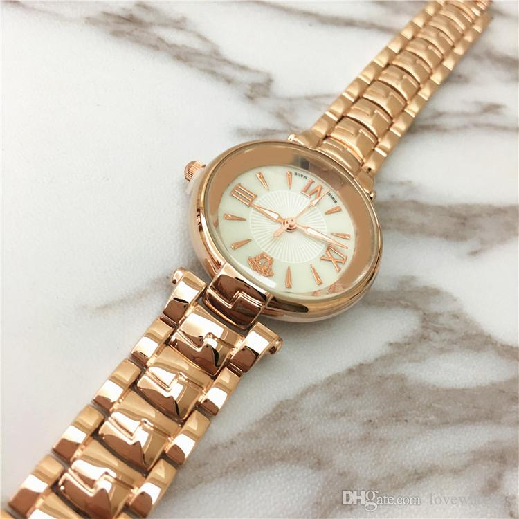 Moda modelo nuevo reloj de las mujeres reloj de oro rosa Popular Shell Dial Face Luminous estudiante DHL precio al por mayor gratis Rose regalos para niñas