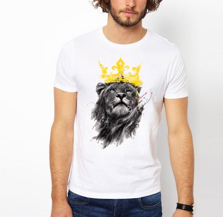 Men'S Lastest 2017 Fashion Short Sleeve King Of Lion Printed T ...