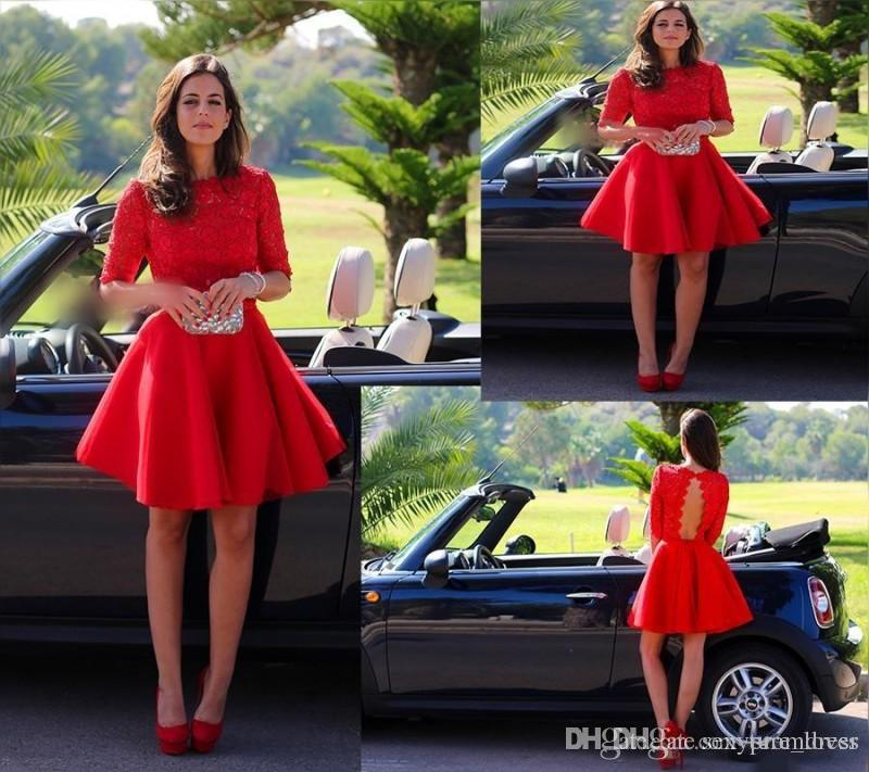 New Arrival A-Line Red Lace Half Sleeve Short Prom Homecoming Dresses Short Formal Party Dresses Open Back Custom Made 2016