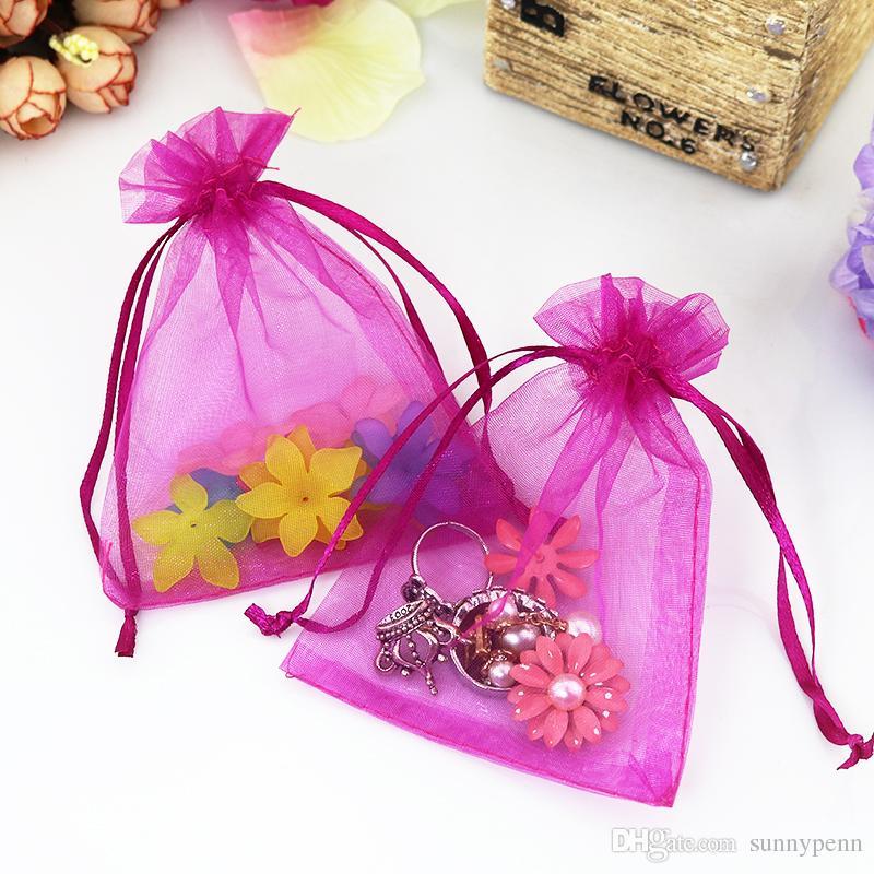 솔리드 자홍색 organza 보석 가방 럭셔리 웨딩 Voile 선물 가방 drawstring 보석 포장 크리스마스 선물 주머니 7 * 9cm