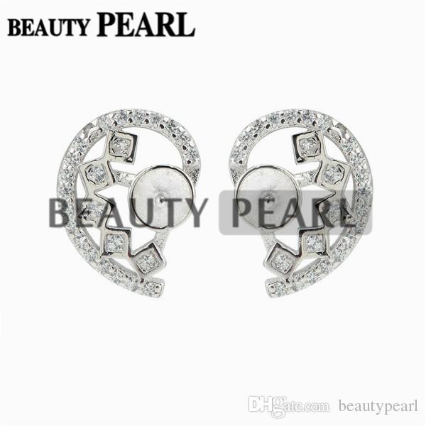 Настройки жемчужной сережки Симметричное сердце с разрезанным сердечком Стерлинговое серебро 925 пробы с цирконами