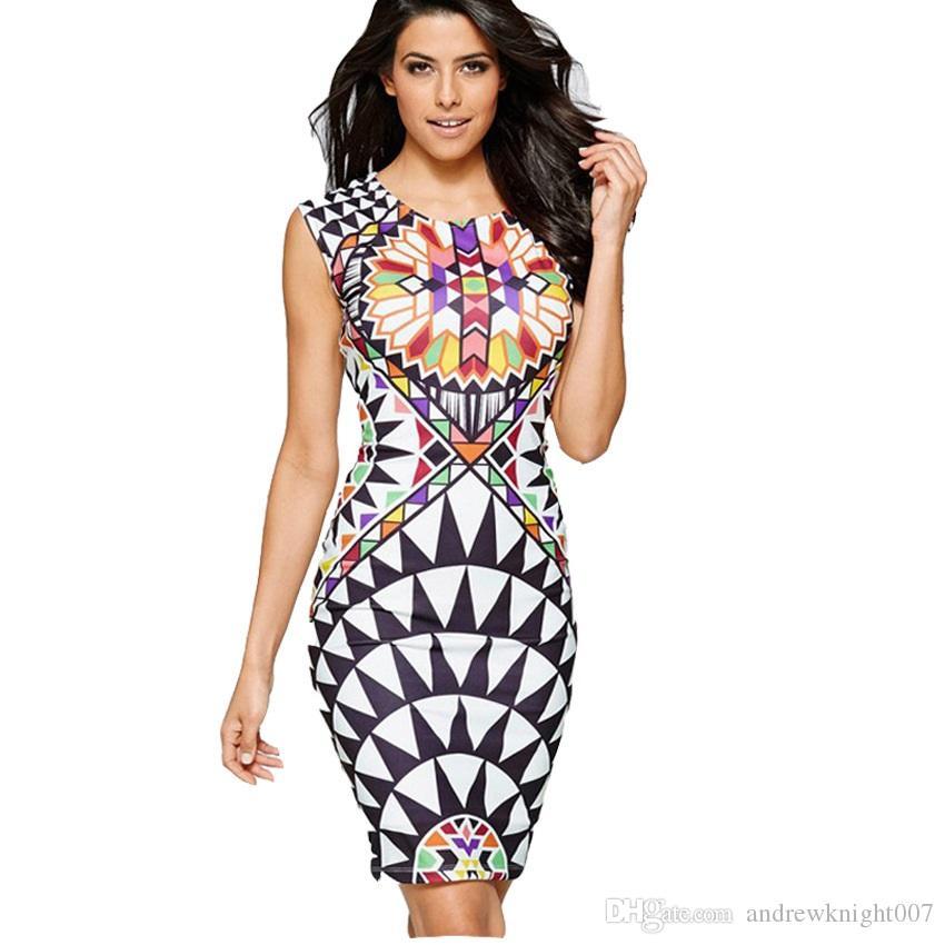 a282d88aab8c Womens Sleeveless Aztec Print Waist Split Pencil Dress Party Female Clothes  Office Vestidos De Festa Renda Vintage Bodycon Dress Casual Dress Women  Summer ...