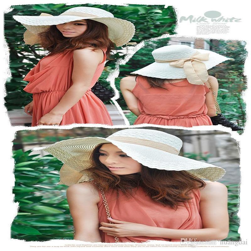 6 ألوان ، واسع كبير مرن بريم الصيف بيتش أحد سترو شاطئ دربي قبعة كاب Packable مرنة ،