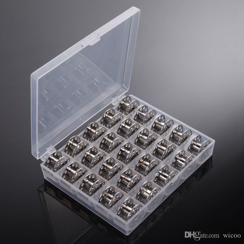 metal Bobinas de spool 25 Grids vazio armazenamento caso para o irmão Janome costura Singer Acessórios Máquina