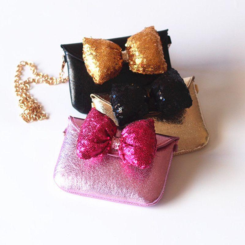 2017 جديد الأميرة بنات حقائب سلسلة حقيبة الترتر bowknot فتاة صغيرة حقيبة أزياء الأطفال حقائب الكتف لطيف عملة محفظة رسول حقيبة a6099