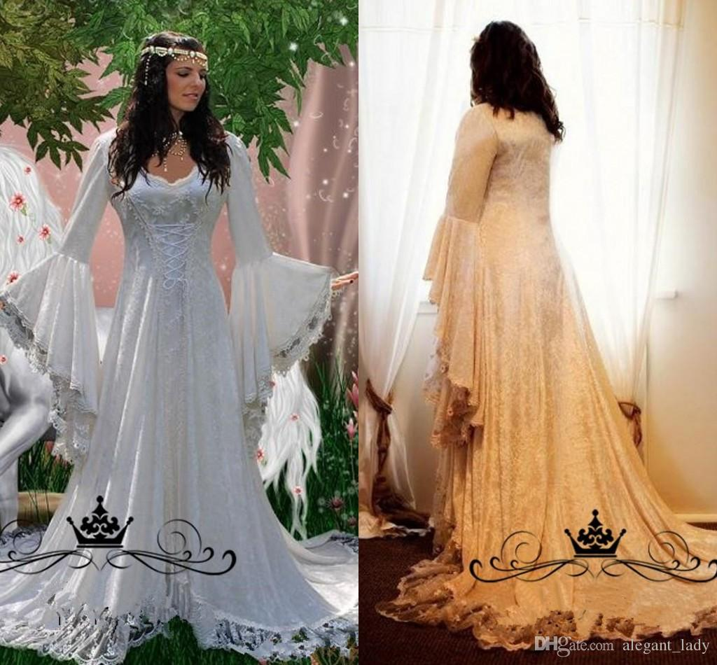 Great 2018 Medieval Wedding Gown Renaissance Bell Sleeve: Vintage Lace Gothic Overskirts Wedding Dresses 2018 Plus