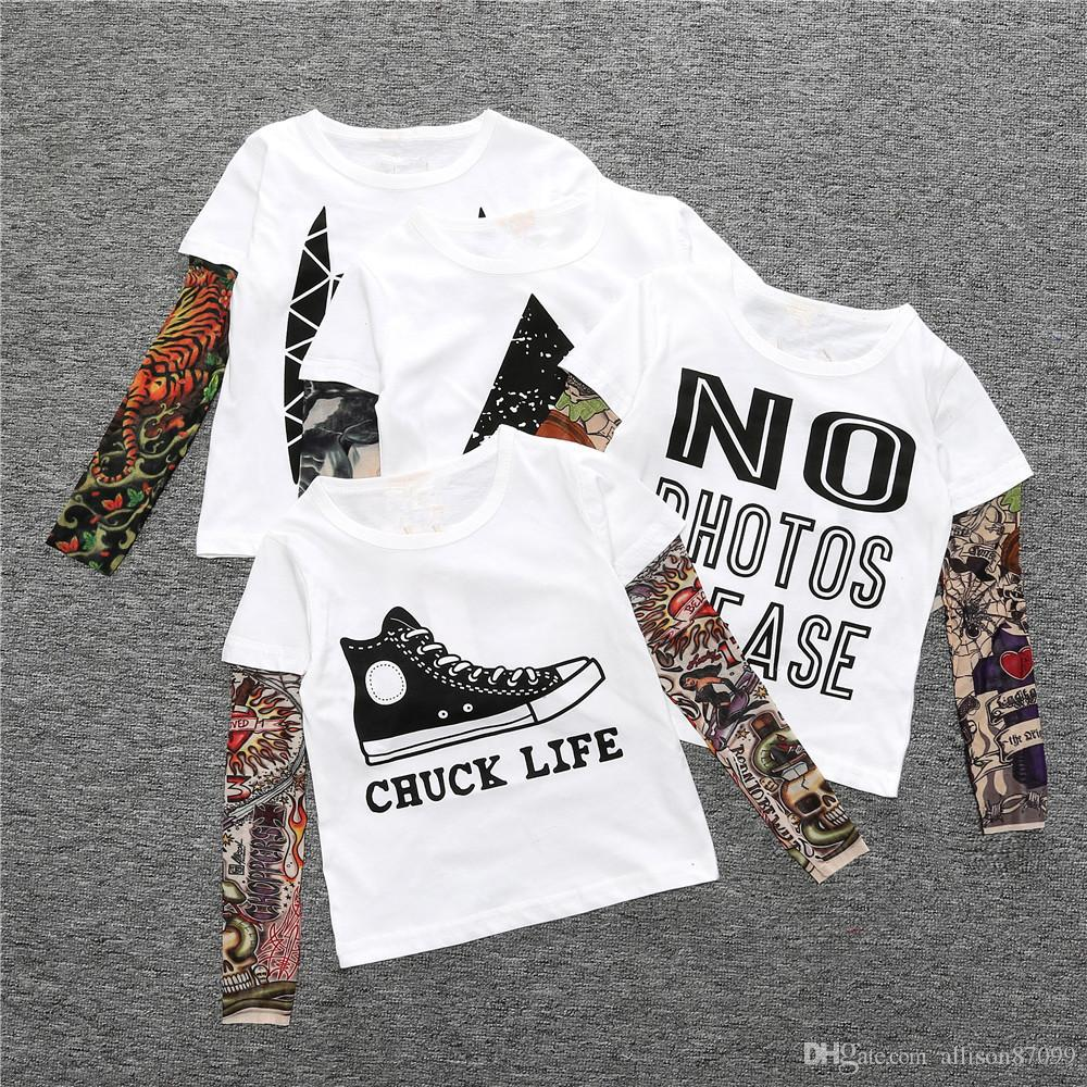 T-shirt Long sleeve Tee for Girl boy Bottom top Kids clothing Hip-hop 2017 Autumn tattoo Mesh sleeve False two piece European Wholesale 1-7T