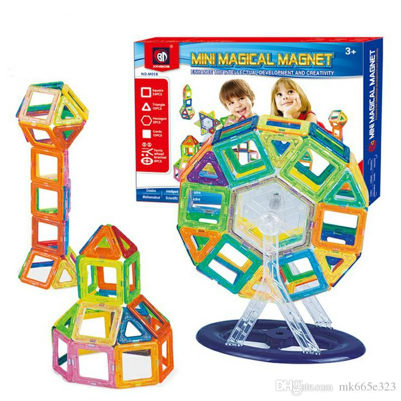 58 PCS Set Magnetic Building Blocks Kids Magnet Construction Toy Rainbow Color for Creativity Educational Children's Christmas Gift with Box
