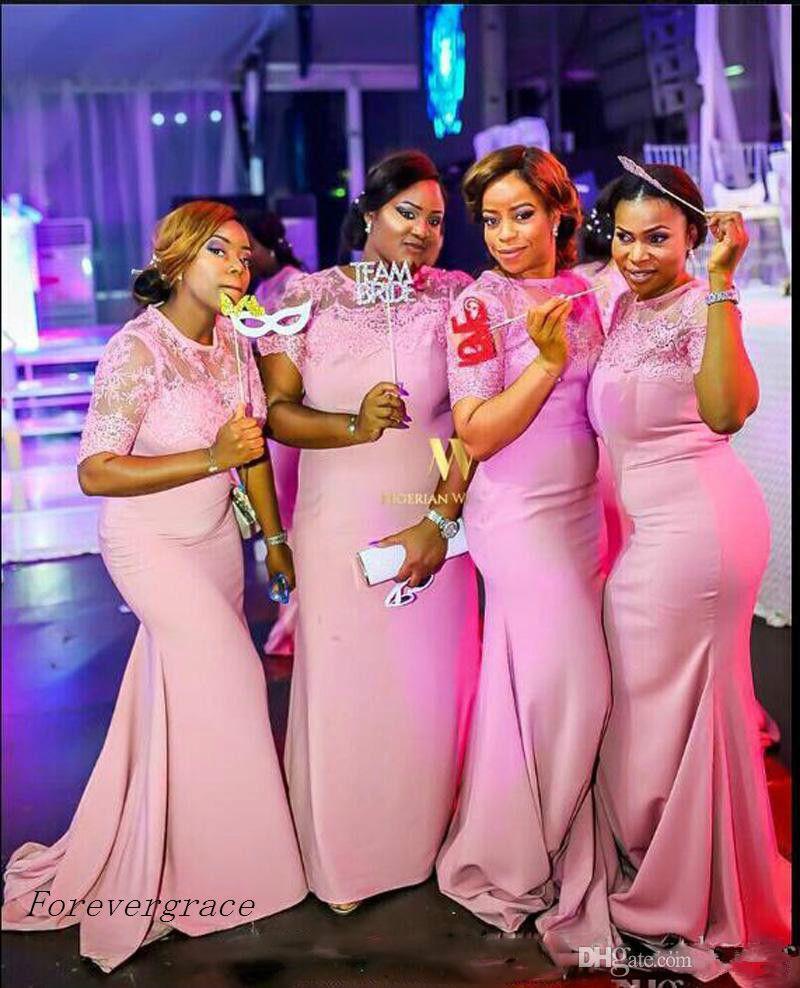 Pink South African Mermaid Bridesmaid Dress Cheap Summer