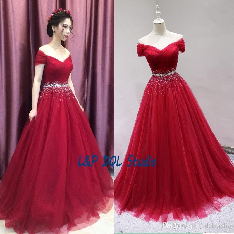 Gorgeous Dark Red Ball Gown Prom Dresses