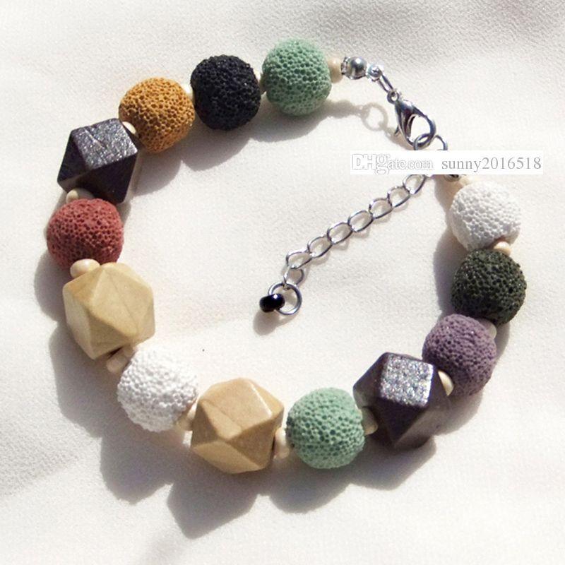 Luxury Designer Jewelry Natural Stone Colored Volcano Beads Charm Bracelet for Women Bracelets Lava Stone Wooden Bead Bracelet Jewelry