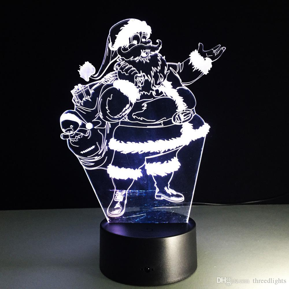 Babbo Natale i lampada 3d visive luci notturne a led bambini Touch Usb Sleeping Nightlight regalo di Natale