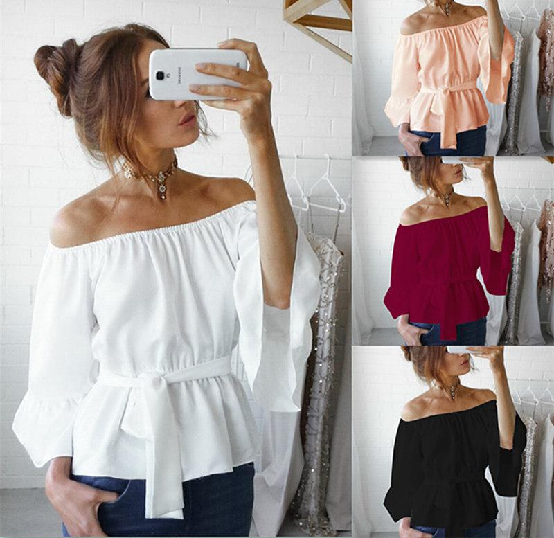 9381c55172c Autumn and Spring Women Casual Chiffon Off Shoulder Tops Lady Long Flare  Sleeve Tie Waist T-shirt Loose Blouse with Sashes